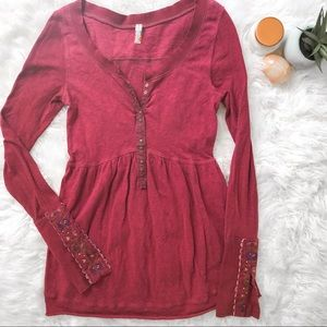 FREE PEOPLE Embroidered Long Sleeve Snap Buttons